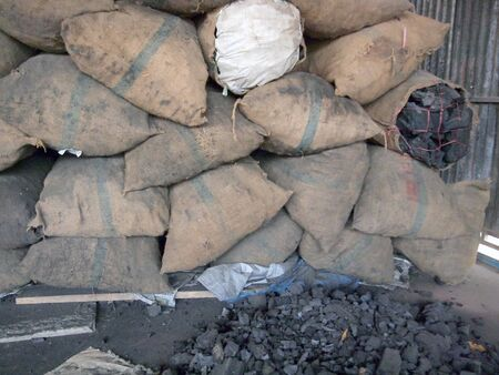 combustible: Charcoal for Sale in Bag Stock Photo