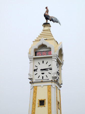 clockwise: Thai tower clock of number thai style Stock Photo