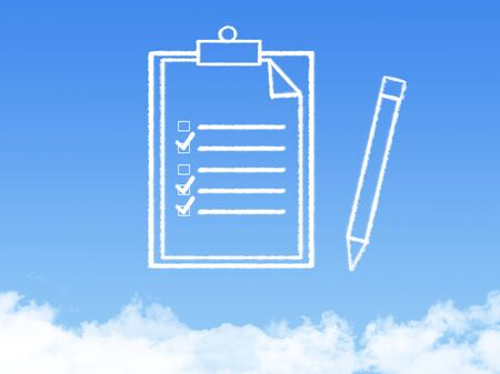 stack of files: Notepad paper document cloud shape
