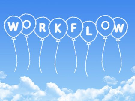 Cloud shaped as workflow Message Stock Photo