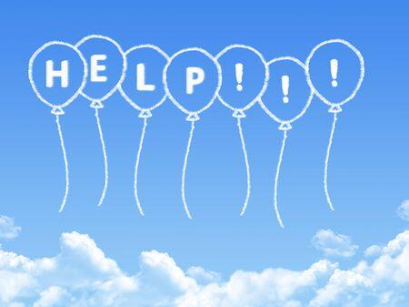 seeking assistance: Cloud shaped as help Message Stock Photo
