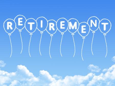 Cloud shaped as retirement Message Standard-Bild
