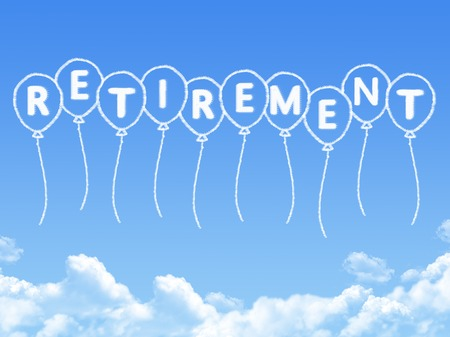 Cloud shaped as retirement Message Stock Photo