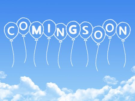 coming soon: Cloud shaped as coming soon Message