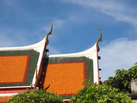 apex: Gable apex on the roof of royal temple in Bangkok, thailand