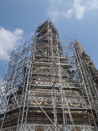 restoration: The restoration repairs a temple Wat Arun