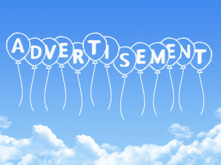 advertisement: Cloud shaped as advertisement Message