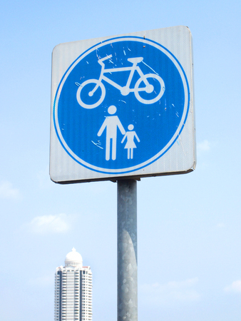 foot path: road signs for bike and foot path