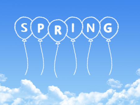 spring message: Cloud shaped as spring Message