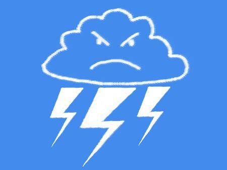 wrathful: cloud and thunder bolt cloud shape Stock Photo