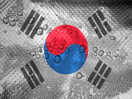 clime: water drops on South Korea flag background Stock Photo