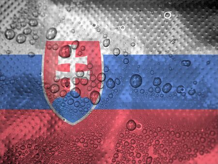 slovakia flag: water drops on Slovakia flag background