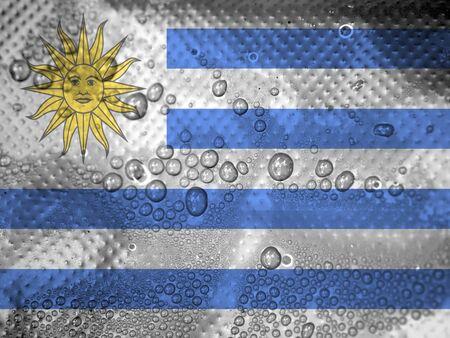 uruguay flag: water drops on Uruguay flag background