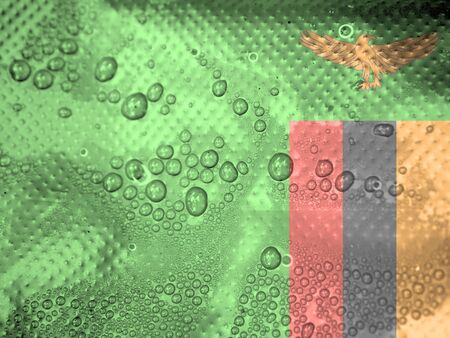 clime: water drops on Zambia flag background