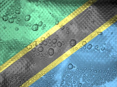 clime: water drops on Tanzania flag background Stock Photo