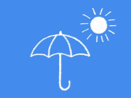 suny: sun and umbrella with cloud shape