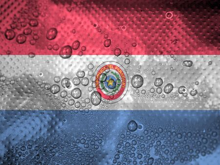 Paraguay flag: gotas de agua en Paraguay fondo de la bandera