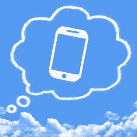 smart thinking: Cloud shaped as thinking about new smart phone