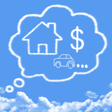 sleeping car: Cloud shaped as dreams about money, house and car