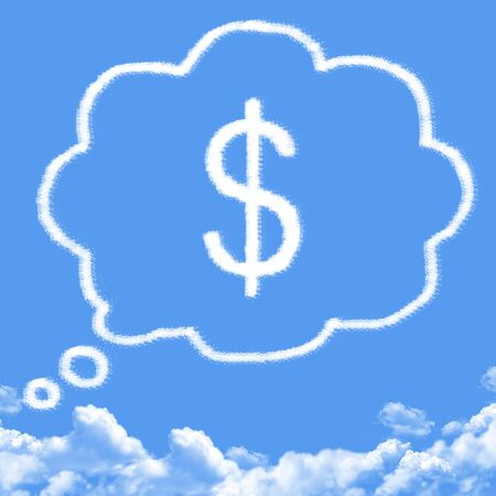 retire: Cloud shaped as dreaming about money Stock Photo
