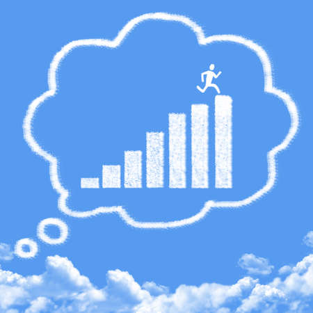 thinks: Cloud shaped as thinks about success