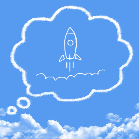 Cloud shaped as spaceman Standard-Bild