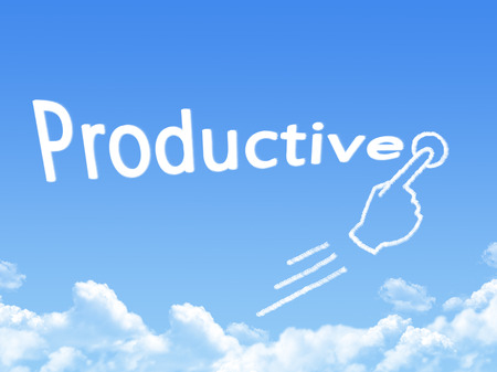 message cloud: productive message cloud shape Stock Photo