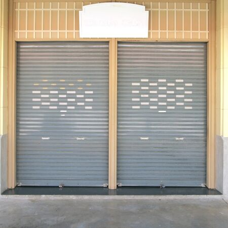corrugation: shutter steel door - home security Stock Photo