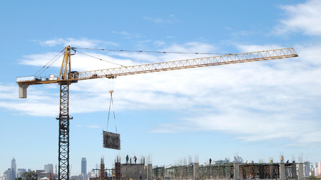 paesaggio industriale: Industrial landscape with cranes on the blue sky