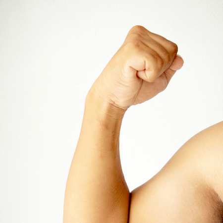 flexing: Picture of a muscular arm flexing