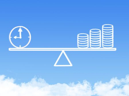 weighing scale: Scale weighing money and time cloud shape