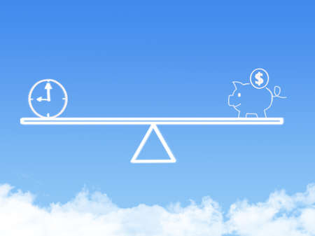 weighing scale: Scale weighing piggy bank and time cloud shape
