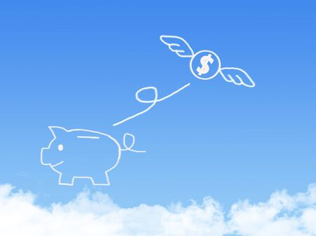 lost money: lost money fly on Cloud shaped ,dream concept Stock Photo