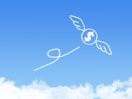 releasing: Money fly on Cloud shaped ,dream concept Stock Photo