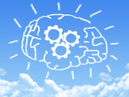 thinking cloud: brain with thinking cloud shape Stock Photo