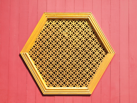 woodcraft: Thai temple window sculpture Stock Photo