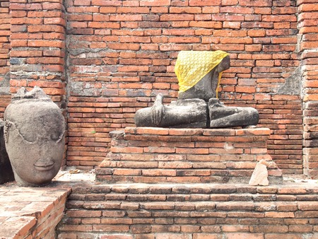 Ayutthaya, Thailand - August 9, 2015 :The Ayutthaya Historical Park covers the ruins of the old city Editorial