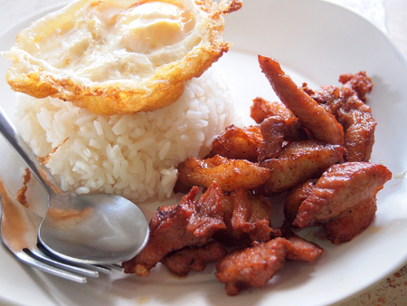 Pork fried and rice Stock Photo