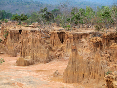 runoff: Lalu Park in Sakaeo province, Thailand, due to soil erosion has produced stranges shapes Stock Photo
