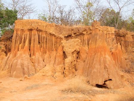 soil erosion: Lalu Park in Sakaeo province, Thailand, due to soil erosion has produced stranges shapes Stock Photo