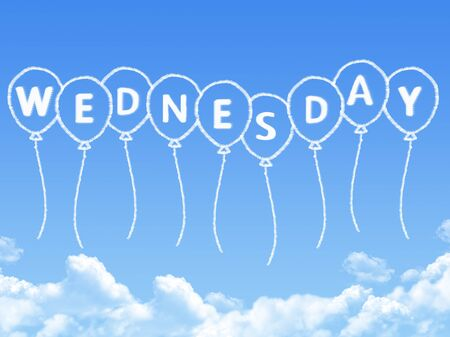 Cloud shaped as wednesday Message Stock Photo