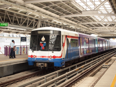 Bangkok,Thailand - May 29,2016 : BTS Skytrain at a station in the city centre as the rail network. Editorial