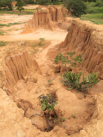 Lalu Park in Sakaeo province, Thailand, due to soil erosion has produced stranges shapes Stock Photo