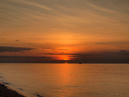 Slow shutter seascape view and beautiful sunrise