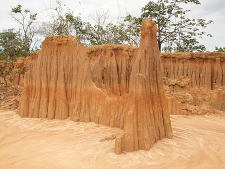 Lalu Park in Sakaeo province, Thailand, due to soil erosion has produced stranges shapes 版權商用圖片