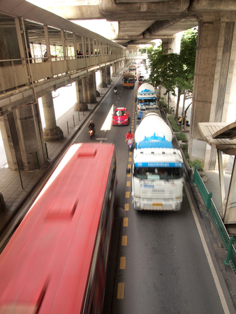 Bangkok,Thailand - 27 August 2016 : Traffic nears gridlock on a city centre road during evening rush hour Editorial