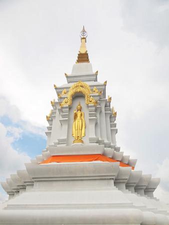 White Jedi pagoda on blue sky background Stock Photo