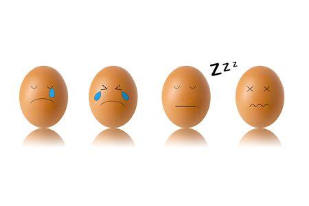 concept egg face on white background , sleep 3D illustration