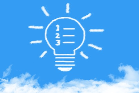 step by step think bulb cloud shaped on blue sky Stock Photo - 101075438