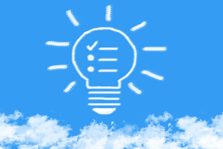 step by step think bulb cloud shaped on blue sky